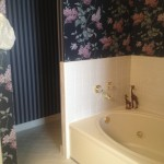 Before wallpaper, bathtub and toilet behind wall